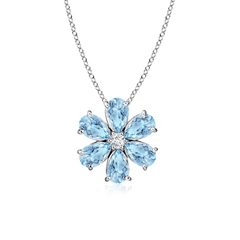 Prong-Set Cluster Aquamarine Flower Pendant with Diamond