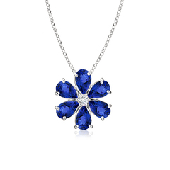 Prong-Set Cluster Tanzanite Flower Pendant with Diamond