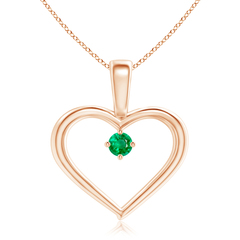 Solitaire Round Emerald Open Heart Pendant with Prong Set