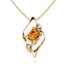Shell Style Diamond and Oval Citrine Pendant