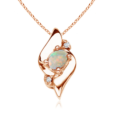 Shell Style Diamond and Oval Opal Pendant