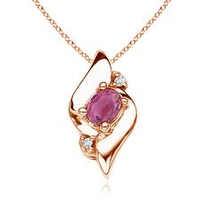 Shell Style Diamond and Oval Pink Tourmaline Pendant