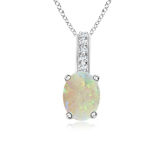 Solitaire Oval Opal Pendant with Diamond Bail