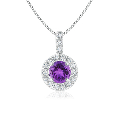 Vintage Amethyst Halo Pendant with Diamond Bail