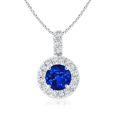 Vintage Blue Sapphire Halo Pendant with Diamond Bail