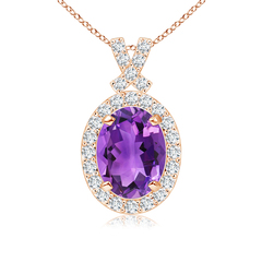 Vintage Inspired Diamond Halo Oval Amethyst Pendant