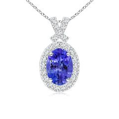 Vintage Inspired Diamond Halo Oval Tanzanite Pendant