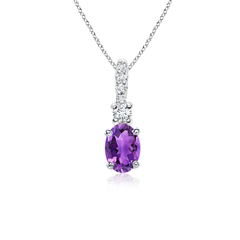 Oval Amethyst Solitaire Pendant with Diamond Bail