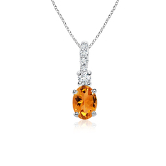 Oval Citrine Solitaire Pendant with Diamond Bail
