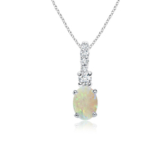 Oval Opal Solitaire Pendant with Diamond Bail
