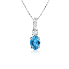 Oval Swiss Blue Topaz Solitaire Pendant with Diamond Bail