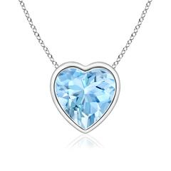 Bezel Set Solitaire Heart Shaped Aquamarine Pendant