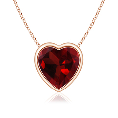 Bezel Set Solitaire Heart Shaped Garnet Pendant