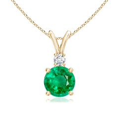 V-Bail Round Emerald Solitaire Pendant with Diamond