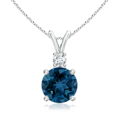 Classic London Blue Topaz Solitaire Pendant with Diamond