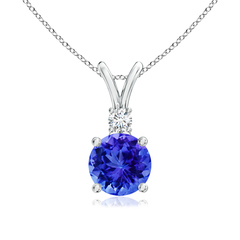 V-Bail Round Tanzanite Solitaire Pendant with Diamond