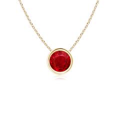 Bezel Set Round Ruby Solitaire Pendant