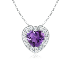 Pave-Set Diamond Halo Heart Shaped Amethyst Pendant