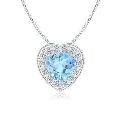 Pave-Set Diamond Halo Heart Shaped Aquamarine Pendant