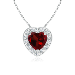 Pave-Set Diamond Halo Heart Shaped Garnet Pendant