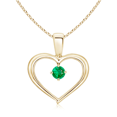 Solitaire Round Emerald Open Heart Pendant