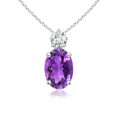 Prong-Set Oval Amethyst Solitaire Pendant with Diamond