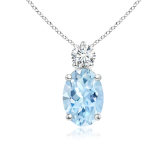 Prong-Set Oval Aquamarine Solitaire Pendant with Diamond
