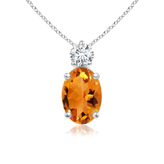 Prong-Set Oval Citrine Solitaire Pendant with Diamond