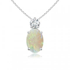 Prong-Set Oval Opal Solitaire Pendant with Diamond