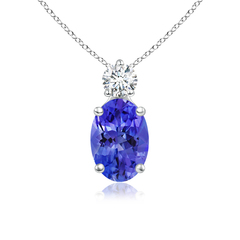 Prong-Set Oval Tanzanite Solitaire Pendant with Diamond