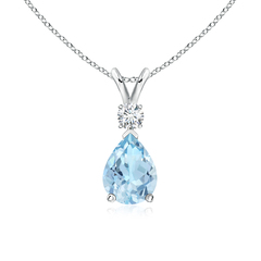 Pear Aquamarine Teardrop Pendant Necklace with Diamond