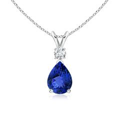Pear Tanzanite Teardrop Pendant Necklace with Diamond