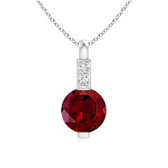 Round Garnet Solitaire Pendant with Diamond Bale