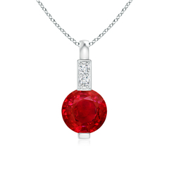 Round Ruby Solitaire Pendant with Diamond Bale