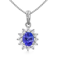 Floral Diamond Halo Oval Tanzanite Pendant Necklace