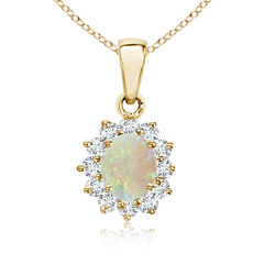 14k Yellow Gold Oval Opal and Diamond Halo Pendant