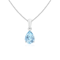 Pear Shaped Aquamarine Solitaire Pendant Necklace