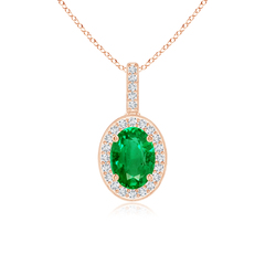 Vintage Oval Emerald Pendant Necklace with Diamond Halo