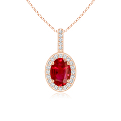 Vintage Oval Ruby Pendant Necklace with Diamond Halo
