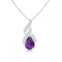 Solitaire Pear Amethyst and Diamond Flame Pendant