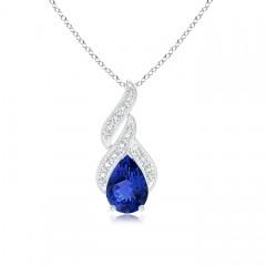 Solitaire Pear Tanzanite and Diamond Flame Pendant