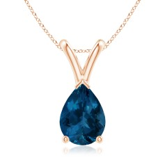 Pear Shaped London Blue Topaz Pendant with V-Bale