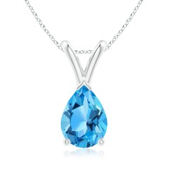 V-Bale Pear Shaped Swiss Blue Topaz Solitaire Pendant