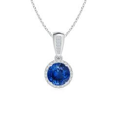 Diamond Halo Vintage Round Sapphire Pendant Necklace