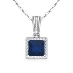 Antique Square Sapphire and Diamond Halo Pendant