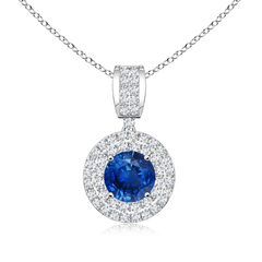 Antique Round Blue Sapphire Pendant with Diamond Double Halo