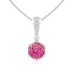 Round Pink Sapphire Pendant Necklace with Diamond
