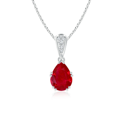 Vintage Pear Shaped Ruby Necklace with Diamond Accents