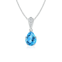 Vintage Pear Shaped Swiss Blue Topaz Necklace with Diamonds