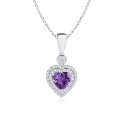 Diamond Double Halo Amethyst Heart Necklace Pendant